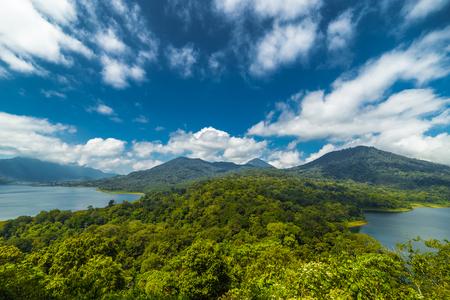 Panorama of Buyan and Tamblingan twin lakes on Bali island, Indonesia 版權商用圖片