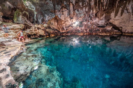 Magic Hinagdanan Cave lake in Panglao Island in Bohol, Philippines Stock fotó