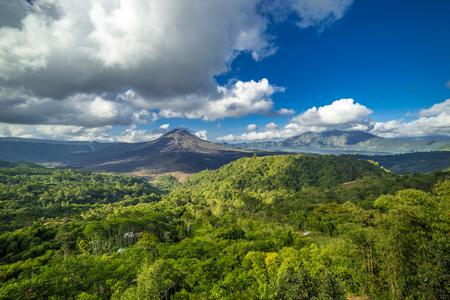 Landscape of Gunug Batur volcano at sunny day on Bali island, Indonesia 版權商用圖片