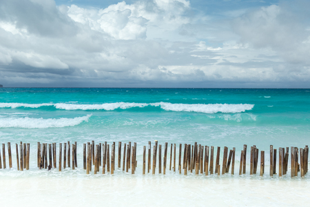 Tropical seascape with turquoise azure sea and white sandy beach in Boracay, Philippines 版權商用圖片