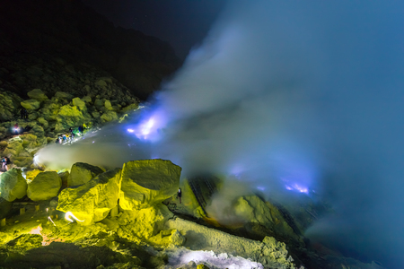 Blue fire of volcan Kawah ijen on the Java, Indonesia