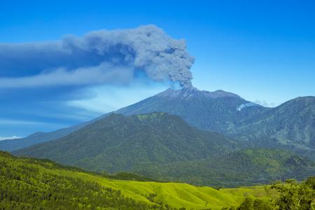 Eruption volcano and smoke emissions on the Gunung Agung, Bali, Indonesia