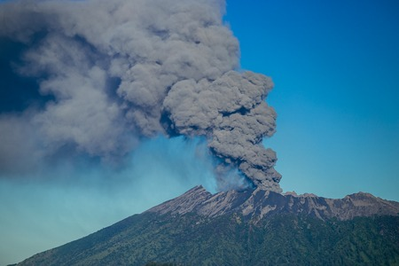 Eruption volcano and smoke emissions on the Gunung Agung, Bali, Indonesia