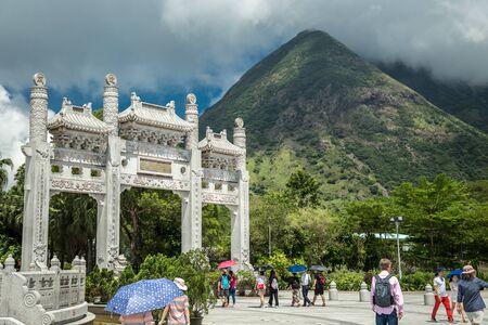 Door gate and walk way at Ngong Ping Village in Chinese style, Hong Kong. June 2018