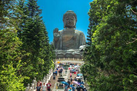Big Buddha of Lantau Island in Hong Kong, China. January 2018
