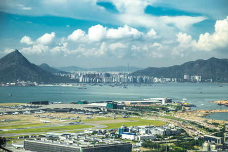 Aerial view of international airport with airplane parking in Hong Kong, China. 版權商用圖片