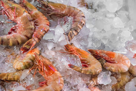 Close up view fresh raw shrimps on ice on fishermen market store shop Stockfoto