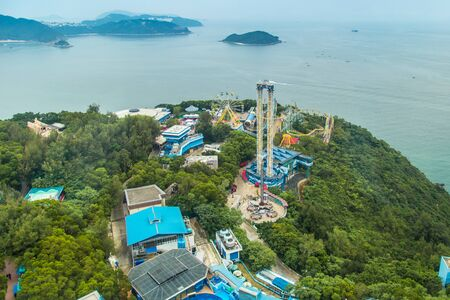Aerial view Ocean park is one of the two large theme parks in Hong Kong, China. July 2018