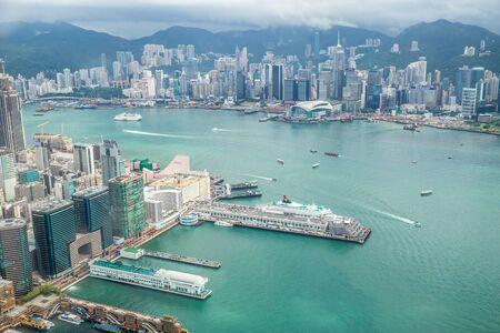 Panorama aerial view of Hong Kong City. Hong Kong, China. July 2018