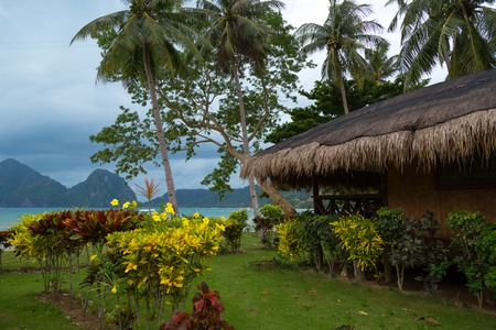 Tropical bungalow and wild beauty of El Nido, Philippines and amazing sea