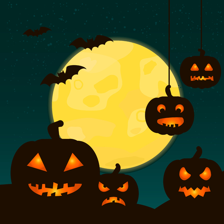 Halloween background with scary pumpkins and full moon. Happy Halloween greeting card. Vector illustration.