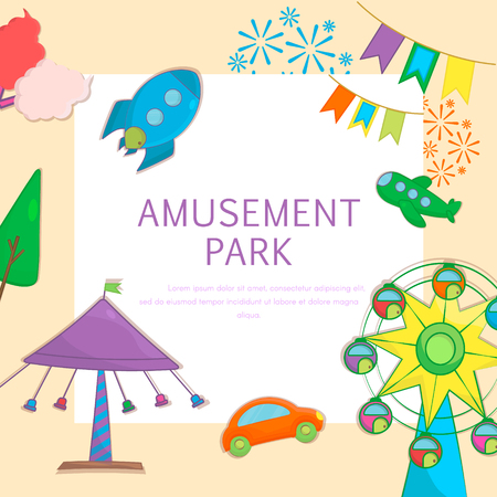 Pretpark en speeltuin achtergrond met reuzenrad, ketting carrousel, candy floss en carrousel raket ruimteschip. Leuke banner in cartoon-stijl. Vector illustratie