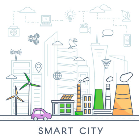 Smart city vector concept. Smart technology and urban design elements in linear style.