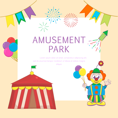 Circus and amusement park background with circus tent, Balloons and funny clown. Vector illustration.