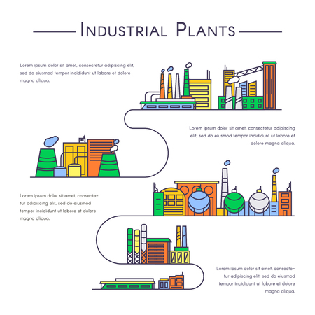 Set of industrial plants in linear style. Industrial buildings vector icons in color.