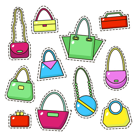 Bags, handbags and purses in linear icons set on white background. Vector illustration. Stock Illustratie