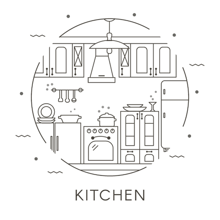 Kitchen interior design in thin line style. Set of kitchen furniture, utensils and appliances outline icons. Flat vector illustration. Stock Illustratie
