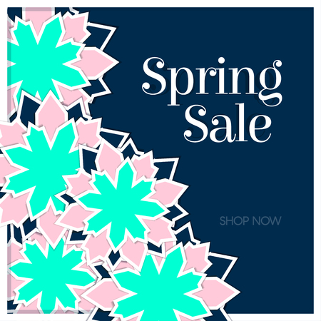 Spring Sale Poster with Paper Flowers. Floral Postcard or Banner