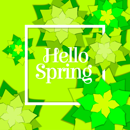 Hello spring poster with paper flowers. Floral postcard or banner. Paper cut design template. Vector illustration.