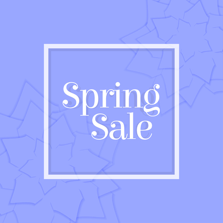 Spring Sale poster with paper flowers. Floral postcard or banner. Paper cut design template. Vector illustration. Stock Illustratie
