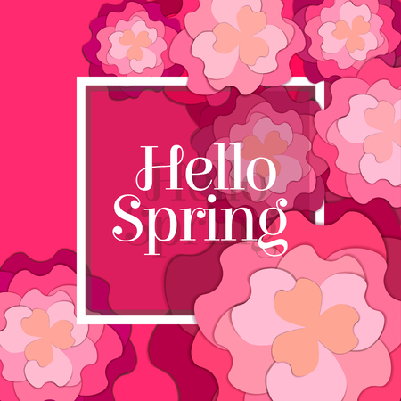 Hello Spring Poster with Paper Flowers. Floral Postcard or Banner. Paper cut design template. Vector illustration. Stock Illustratie