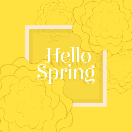 Hello Spring Poster with Paper Flowers. Yellow Monochrome Floral Postcard or Banner. Paper cut design template. Vector illustration.