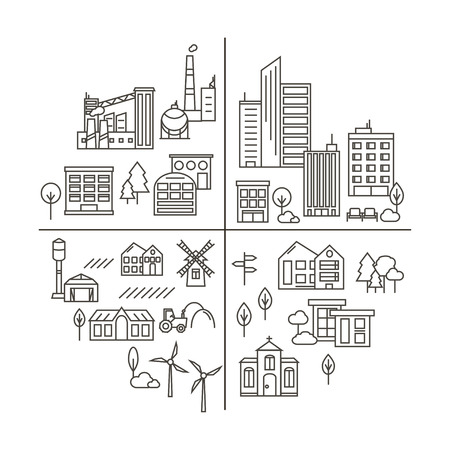 City, Town and Countryside Illustration in Linear Style.