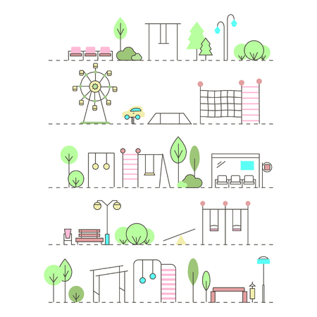 City Activities Illustration in Linear Style.