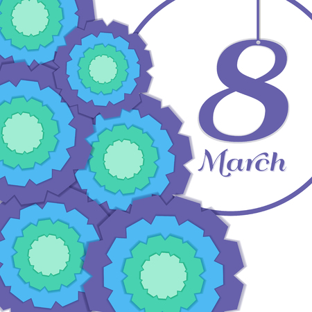 Colorful Greeting Card with Paper Fan - March 8.