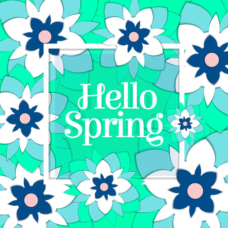 Hello spring paper art postcard. Stock Illustratie