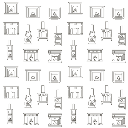 Seamless Pattern with Different fireplace design.