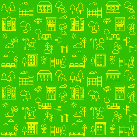 Seamless pattern with city line icons.