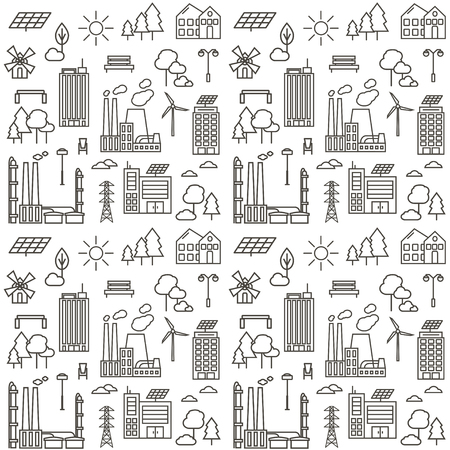 Seamless pattern with eco city line icons.