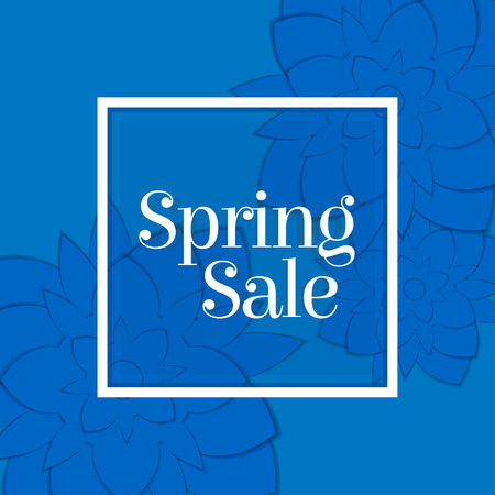 Paper art blue floral spring sale banner. Stock Illustratie