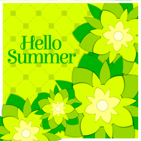 Hello summer paper floral green art postcard. Stock Illustratie