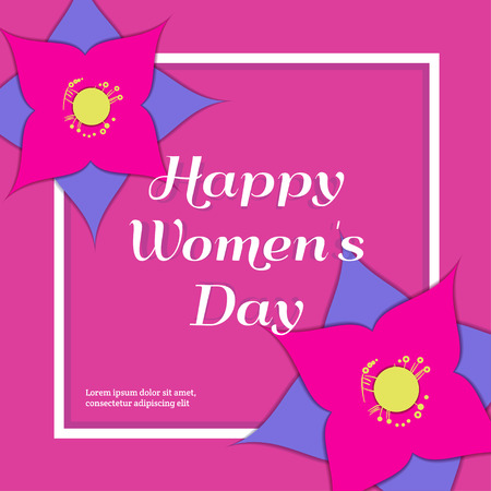 Happy Women's Day Greeting Card with Paper Flowers. Floral Postcard or Banner. Paper cut design template. Vector illustration.