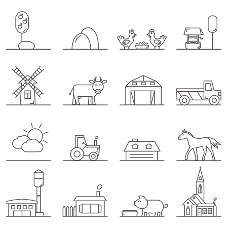 Vector Icons of Town, Countryside and Farm Lands in Linear Style. Isolated graphic elements: church, horse, cow, barn, buildings, weather and farm animals. Rural landscape details.