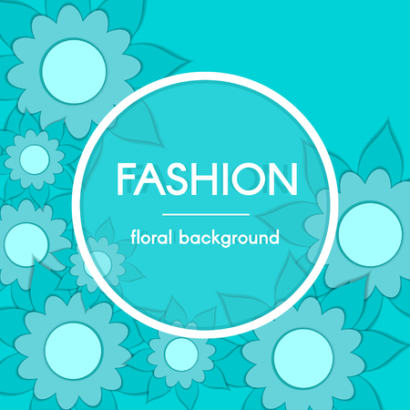 Paper Cut Floral Greeting Card. Trendy Color Fashion Background. Paper art design template. Vector illustration. Stock Illustratie