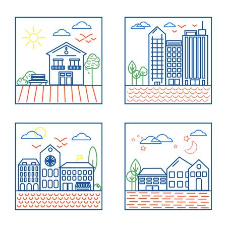 Four City Landscapes Illustrations