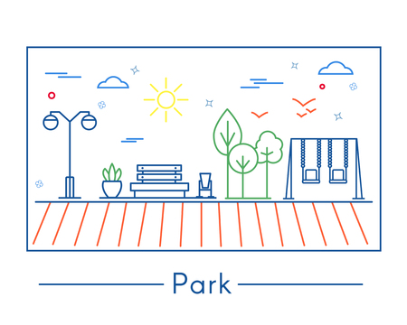 Linear city and park design elements illustration.