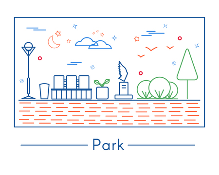 Linear city and park design elements