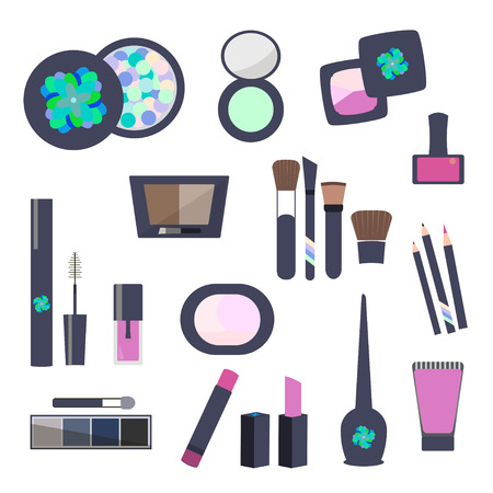 Makeup and Cosmetics Flat Icons vector illustration.