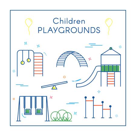Children's Playground in Line Art vector illustration. Vectores