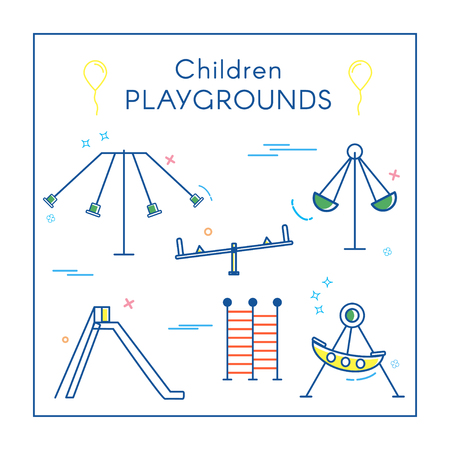 Childrens Playground in Line Art vector illustration. Stock Illustratie
