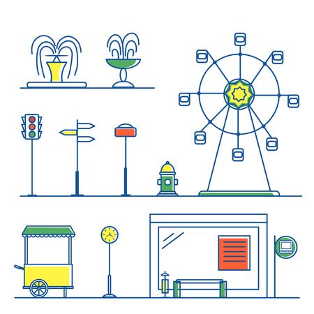 City Landscape Set in Line Style vector illustration. Vettoriali