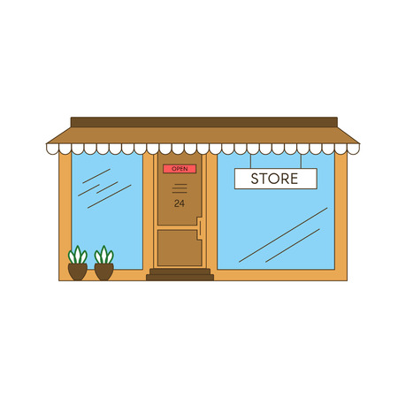 Linear Store Building vector illustration design.