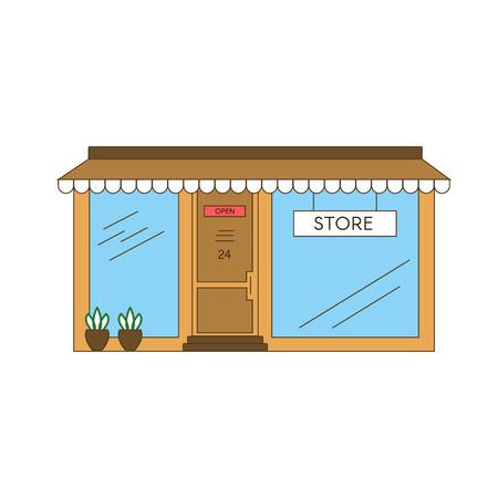 Linear Store Building vector illustration design.
