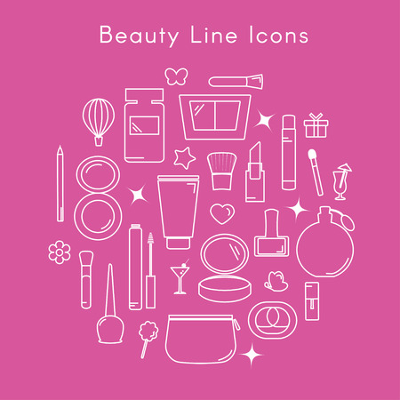 Beauty line icons. Stock Illustratie
