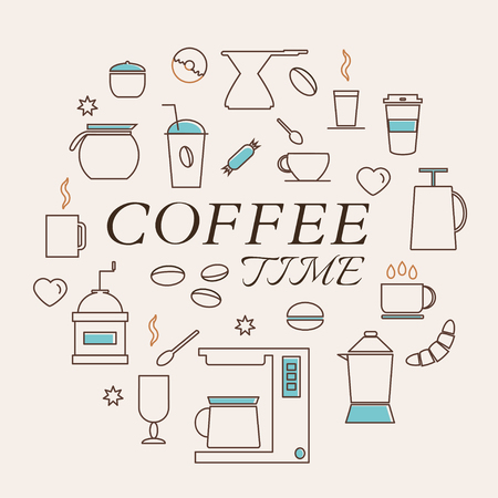 Coffee Time Icons Set in Thin Line Style. Coffee machine. Coffee pot and coffee cup. Coffee dessert. Vector.