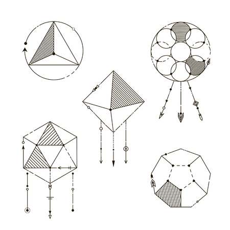 Set of Geometric Elements. Line Art Design Elements. Fashion Decorative Ornament. Tribal style.